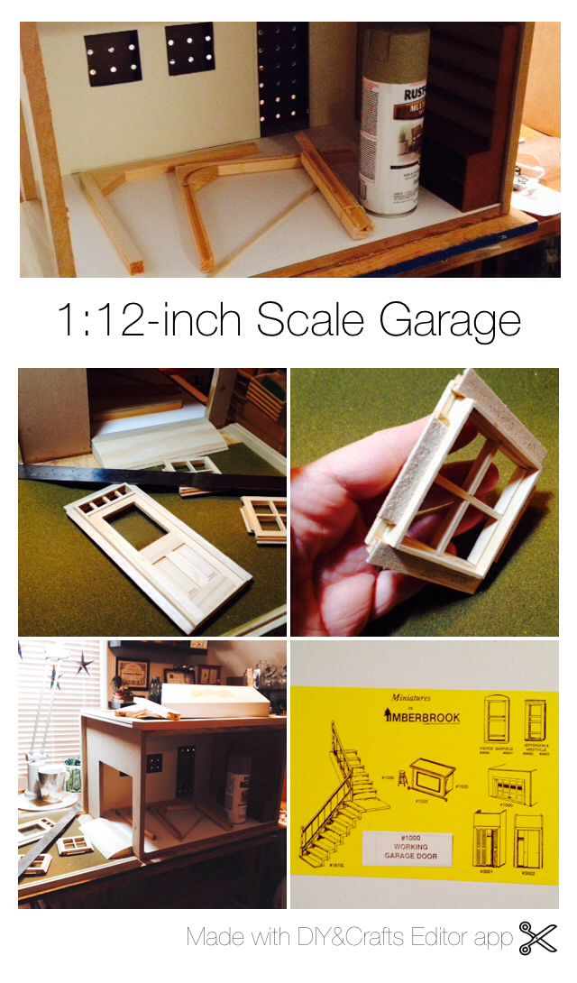 Working on a miniature garage room box  Scale is 1-inch = 12