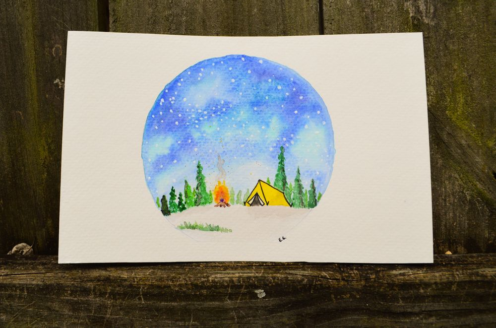 Watercolor Painting Tent Camping Painting Watercolor