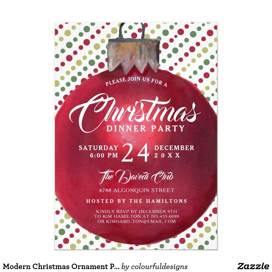 Modern Christmas Ornament Party Invitation   Modern christmas ...