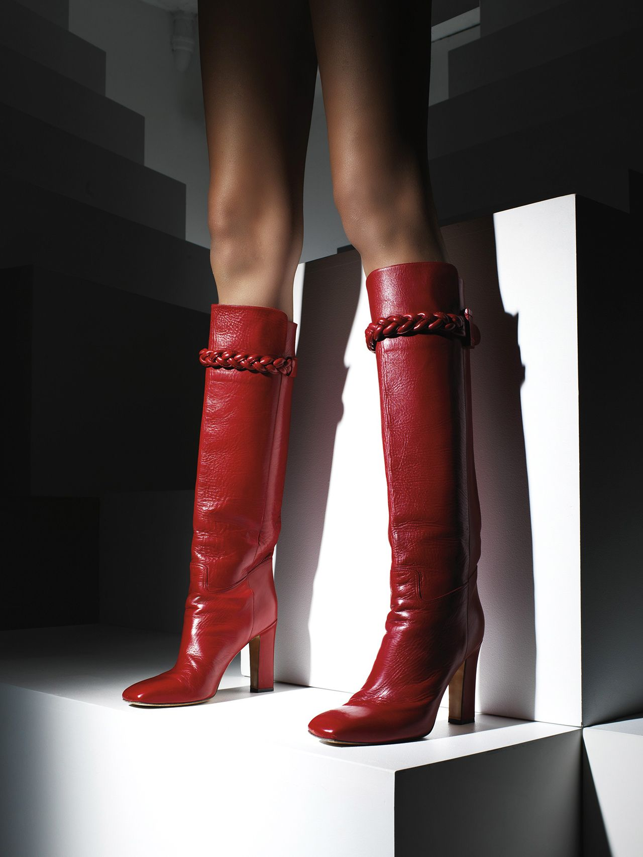 44e6833893fa3 Leather Knee-High Boots from Valentino.