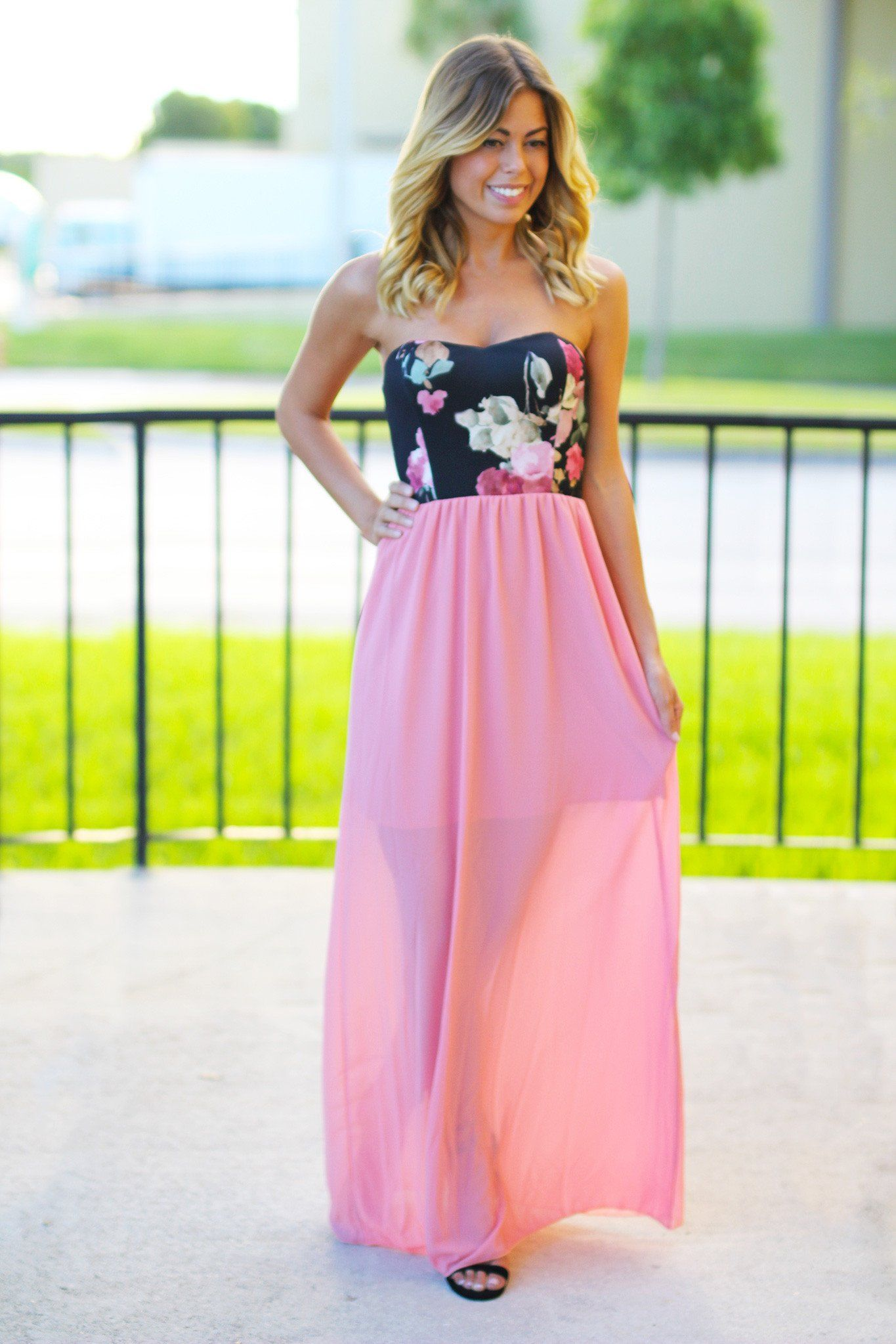 Dusty pink maxi dress with floral top pink maxi dusty pink and