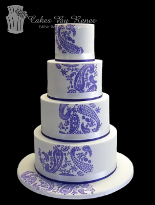 4 Tier Purple And White Henna Paisley Png Wedding Cakes