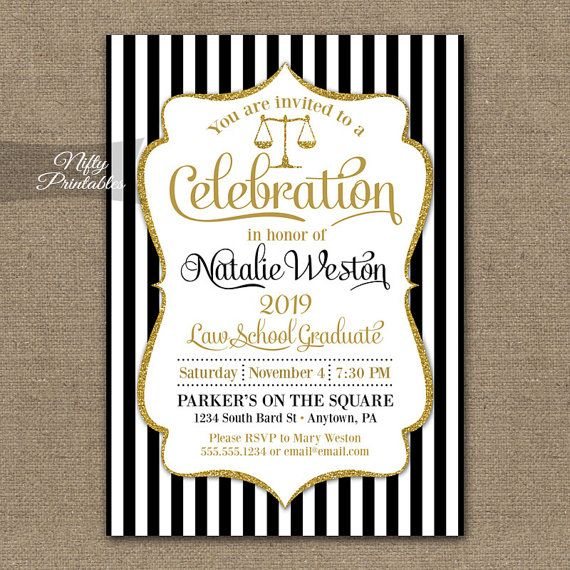 and elegant law school graduation invitation featuring gold glitter scales and frame with lovely script text view all my coordinating party