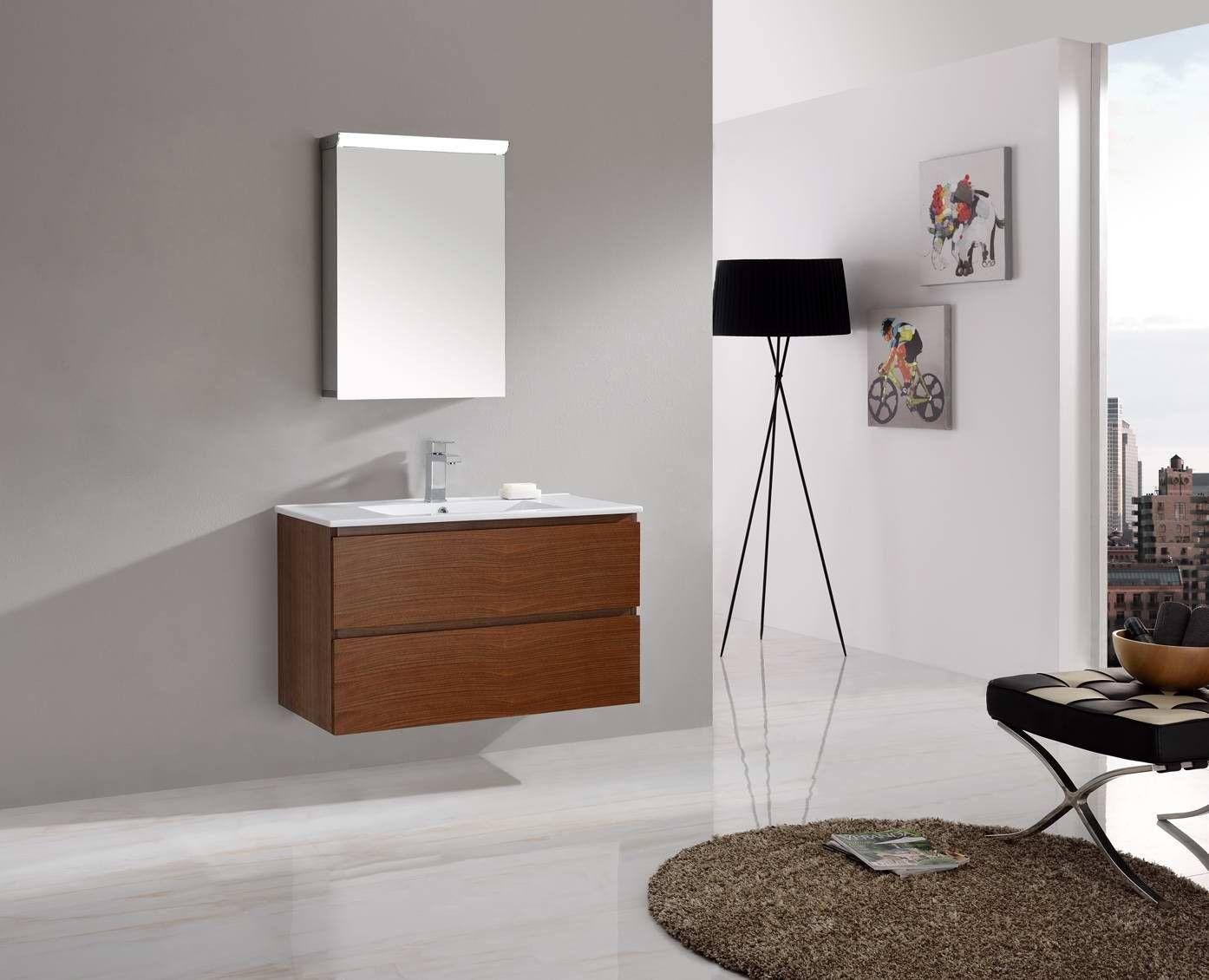 Madero 900 Timber Walnut Veneer Bathroom Modern Contemporary Wall ...