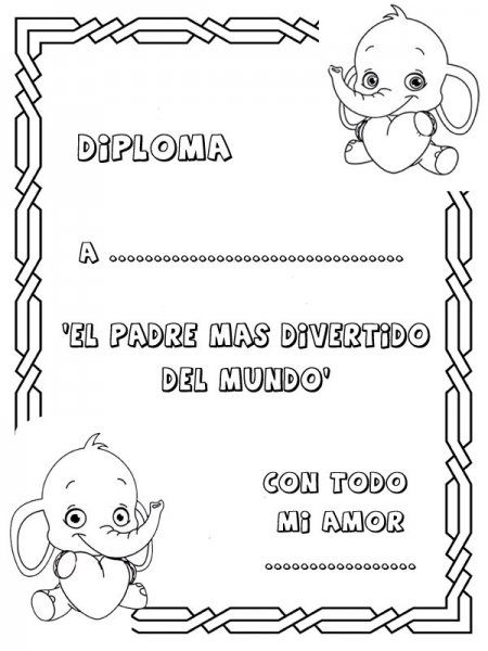 Dibujos para colorear. Diploma al papá más divertido | ESCUELA ...