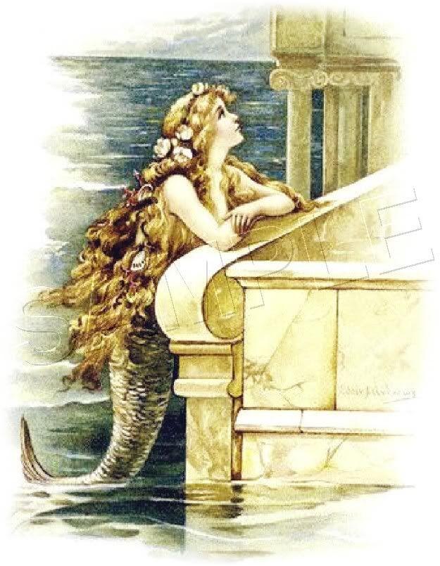 Vintage Little Mermaid 2 Fairy Fantasy Canvas Art Print