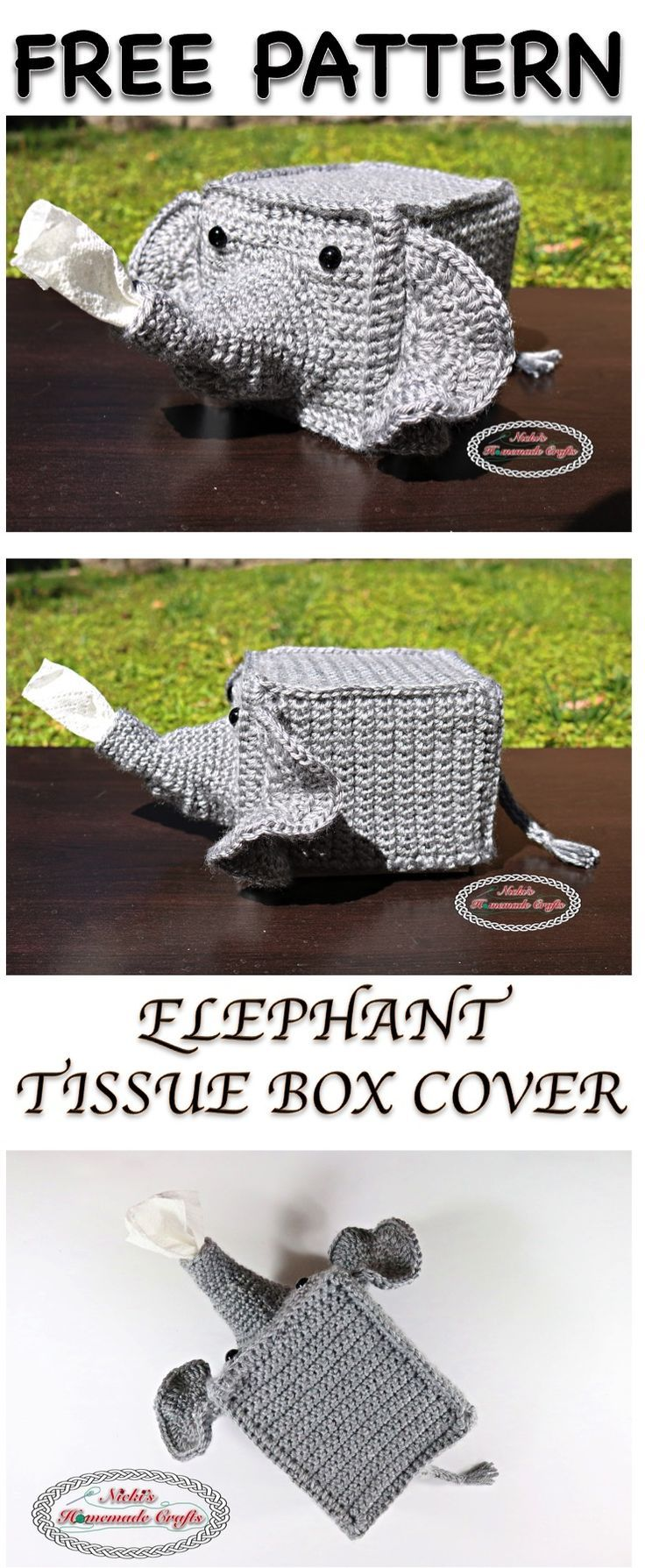 Elephant Tissue Box Cover Free Crochet Pattern | Fun craft ideas ...