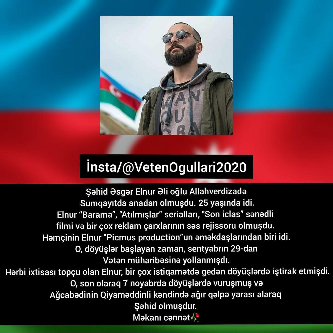 Səhid Elnur Allahverdizadə Ruhun Sad Olsun Səhidim In 2021 Azerbaijan Burns