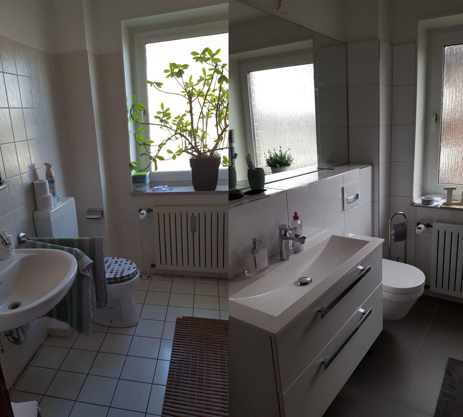 Vorher Nachher   Renovierung Meines Bathroom / Badezimmer. Dunkle  Bodenfliesen Und Helle Wandfliesen