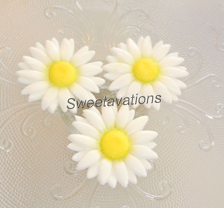 Sugar Flower Daisy Qty 12 Fondant Daisy Fondant Flowers Cake