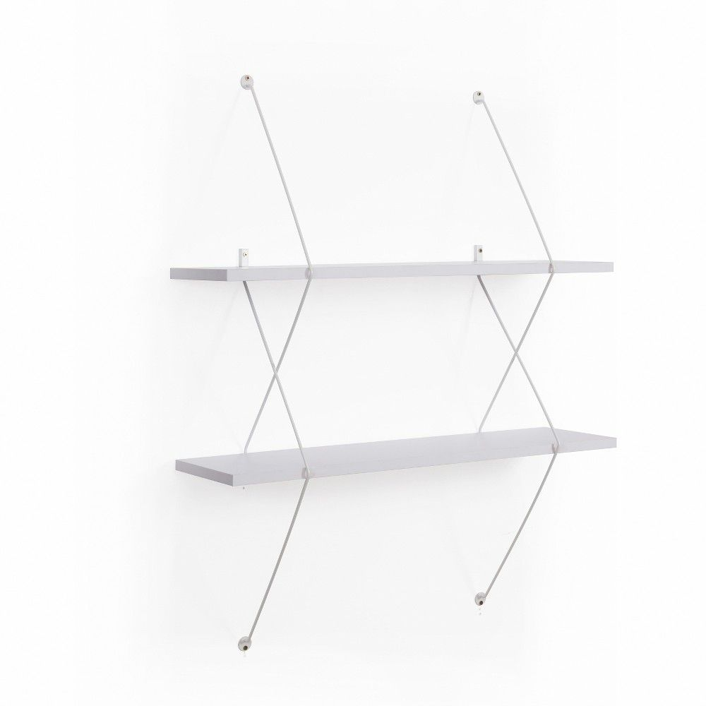 Glasregale Berlin Contemporary Two Level White Shelving System With White Wire