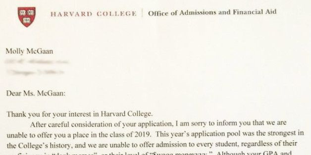 That Harvard Rejection Letter Is Fake, But Still Really, Really - rejection letter sample