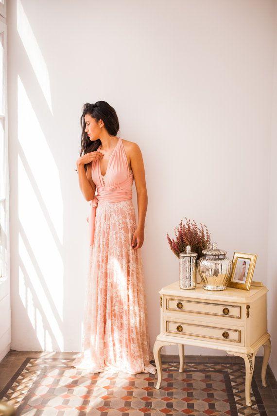 Golden lace bridesmaid dress, peach bridesmaid dress, golden lace ...