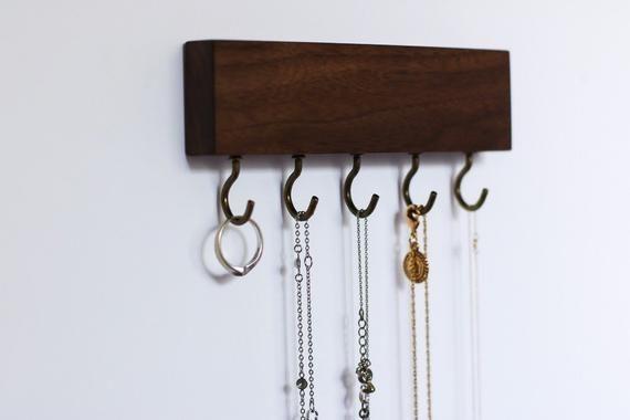 Small Mini Natural Wood Jewelry Organizer Cherry Walnut