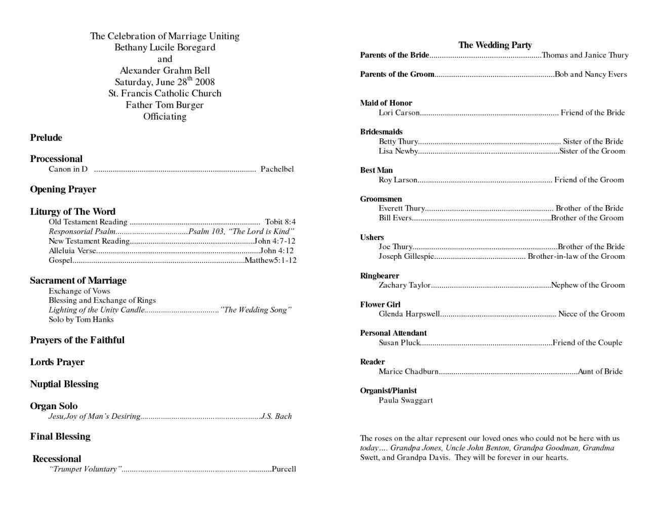 Wedding Program Template Wedding Program Template Word Catholic