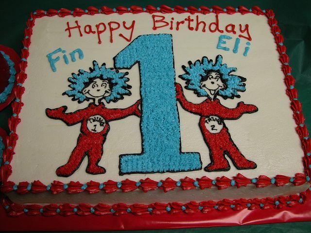 Thing 1 Thing 2 Cake Twins 1st Birthdays Seuss Cakes Twin