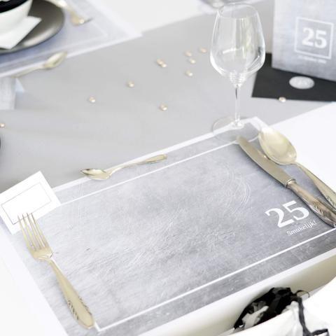 Placemats | Stijlvol Zilver #birthday #pensioenfeest #retirement #verjaardagsfeest #jubileum #placemats #tabledeco #silver #party #Beaublue