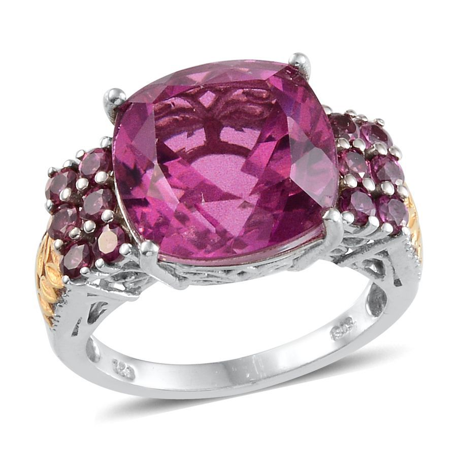 Radiant Orchid Quartz and Orissa Rhodolite Garnet Ring in 14K Yellow ...