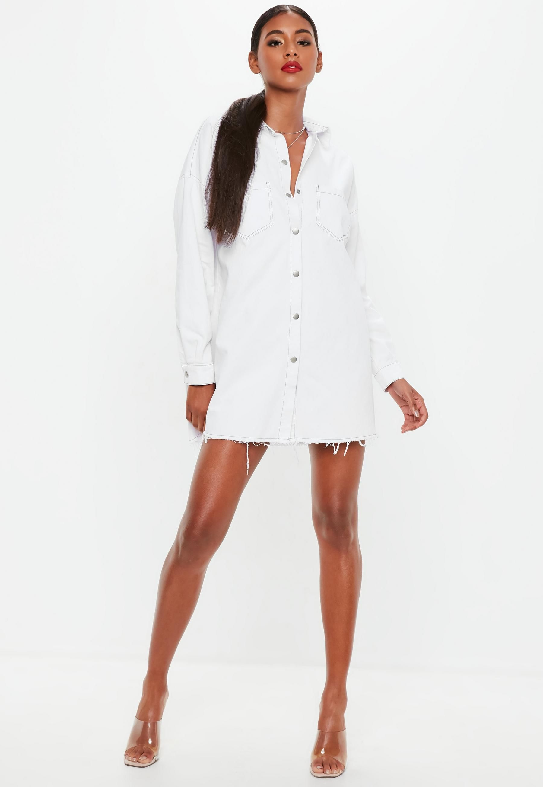 c58359b6f6 Women s Winter Clothes and Fashion. White Contrast Stitch Utility Shirt  Dress