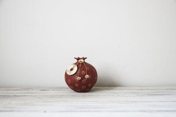 Ceramic pomegranate with 2016 ceramic charm stoneware by ArktosArt