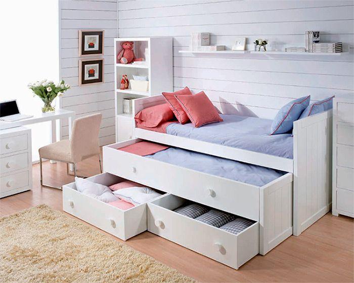 Cama con cama nido y cajoneras ideales para dormitorios for Cama compacta infantil