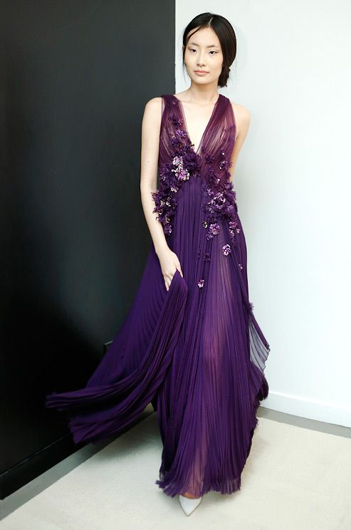 Royal purple gown with lovely flowers idea really pretty, A lush ...