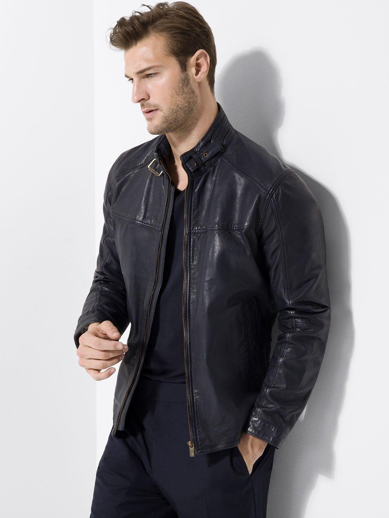 BLUE NAPPA LEATHER JACKET Leather jacket men, Leather