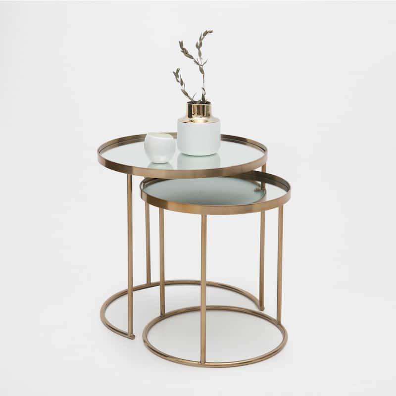 Bild 1 Des Produktes Runde Unterschiebbare Tische In Gold 2er Set Beistelltische Wohnzimmer Tisch Couchtisch Set