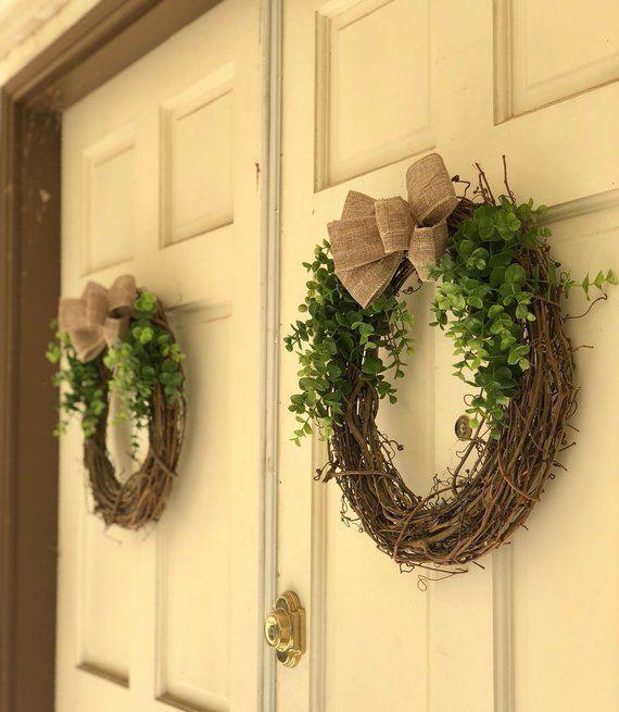 Photo of Spring Wreaths for Front Door, Spring Wreath, Eucalyptus Wreath, Double Door Wre …