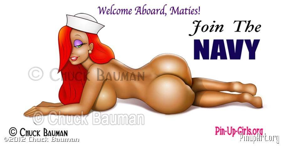 Jessica Rabbit navy Recruiter Pinup Poster Welcome Aboard, Maties!