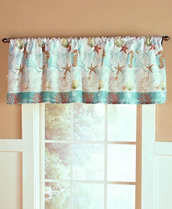 New Coastal Sealife Bathroom Seashell Starfish Window Curtain Valance Unbranded Nautical Beach Bathroom Decor Beach Bathrooms Bathroom Decor