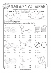 One Quarter Turn or One Half Turn | Stage 1 | Worksheets, One half ...