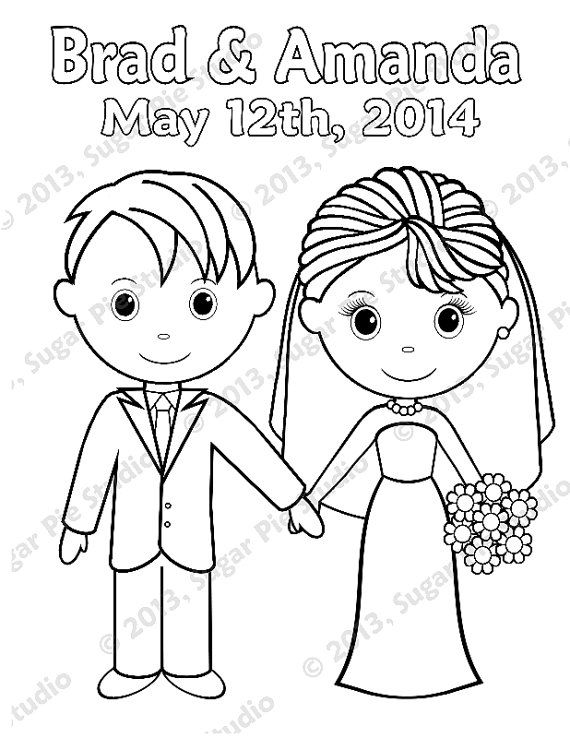 Personalized Printable Bride Groom Wedding Party Favor Childrens Kids Coloring Page Activity Pdf Or Jpeg File In 2021 Wedding With Kids Wedding Coloring Pages Wedding Printables