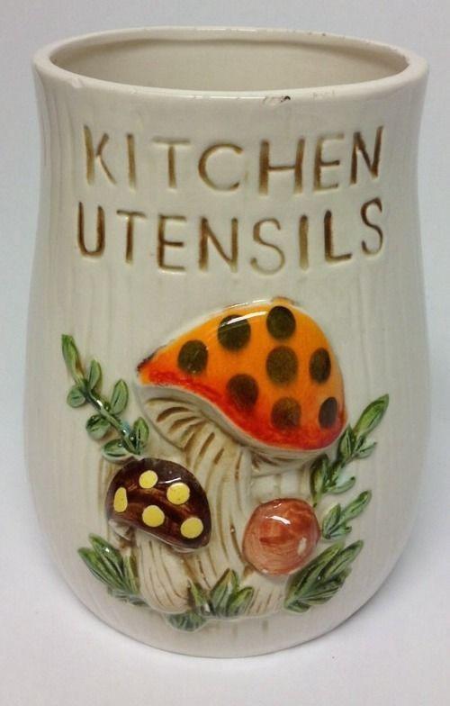 Vintage Sears Roebuck 1978 Merry Mushroom Kitchen Utensils Holder Mushroom Decor Vintage Mushroom Vintage Kitchenware