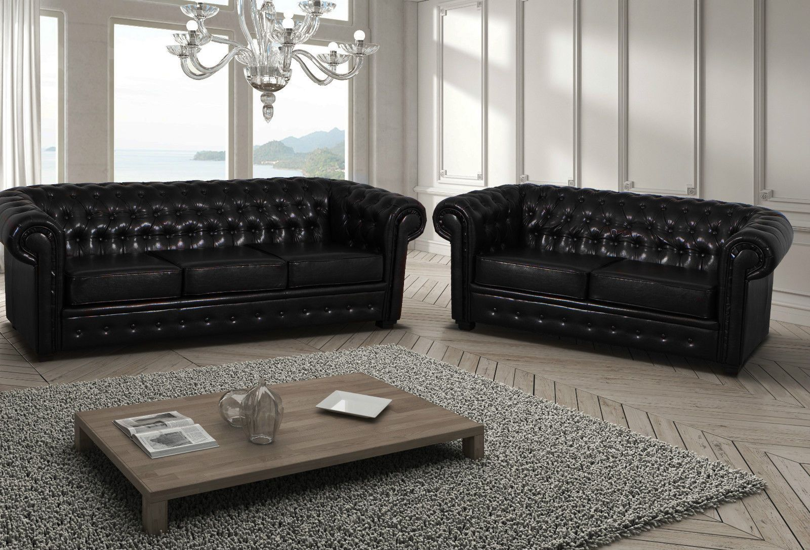 New Large Black 3 2 Seaters Chesterfield Sofas Settee Soft Leather