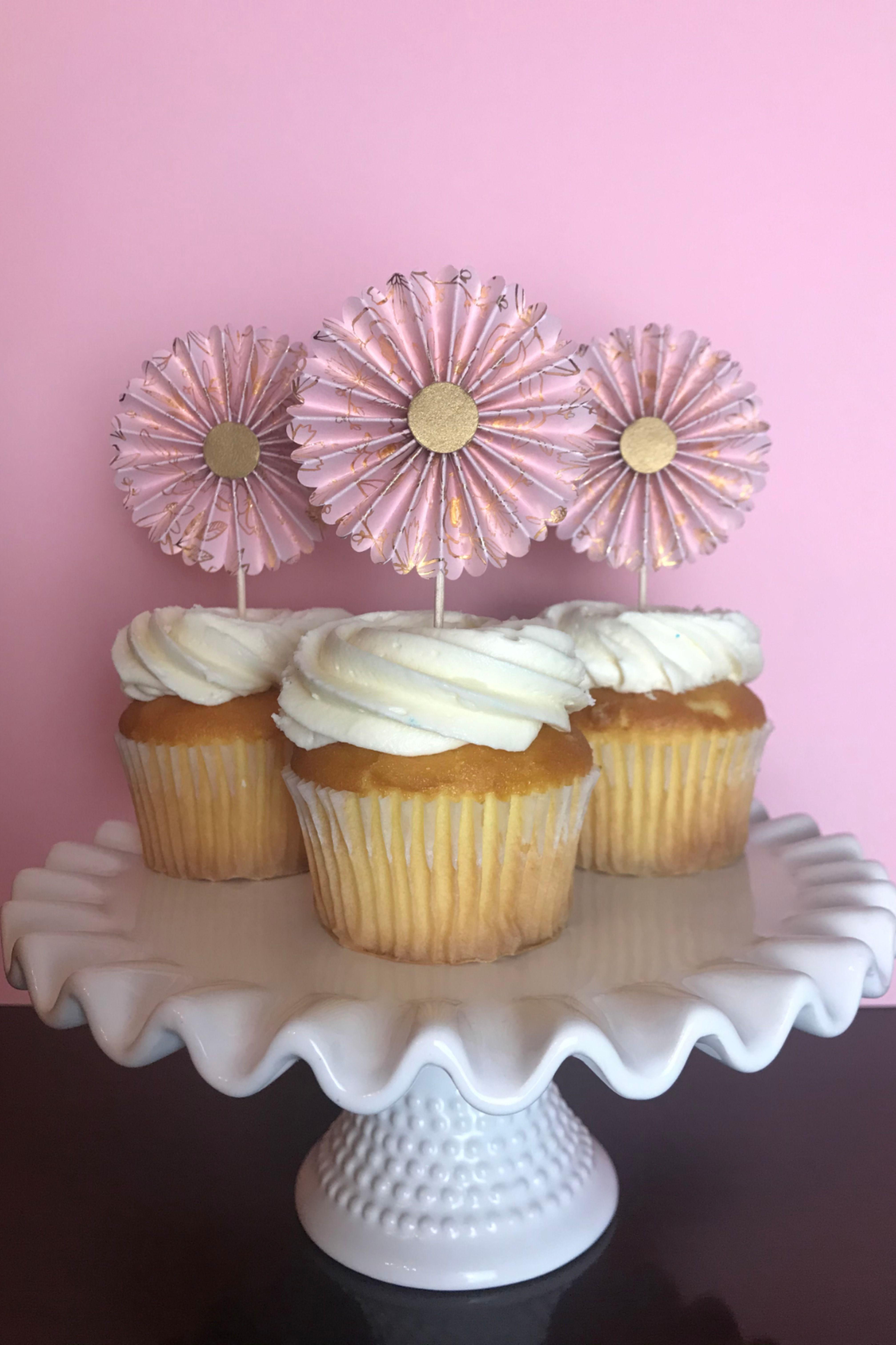 Pink, gold birthday cupcake toppers / birthday girl ...
