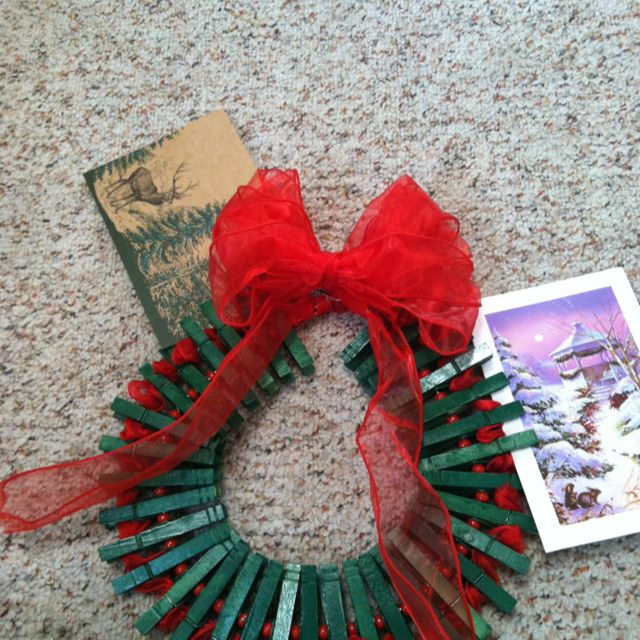 Finally, I did a pinterest craft and it worked!! It's a clothespin Christmas card holder... Perty good for my first try!!