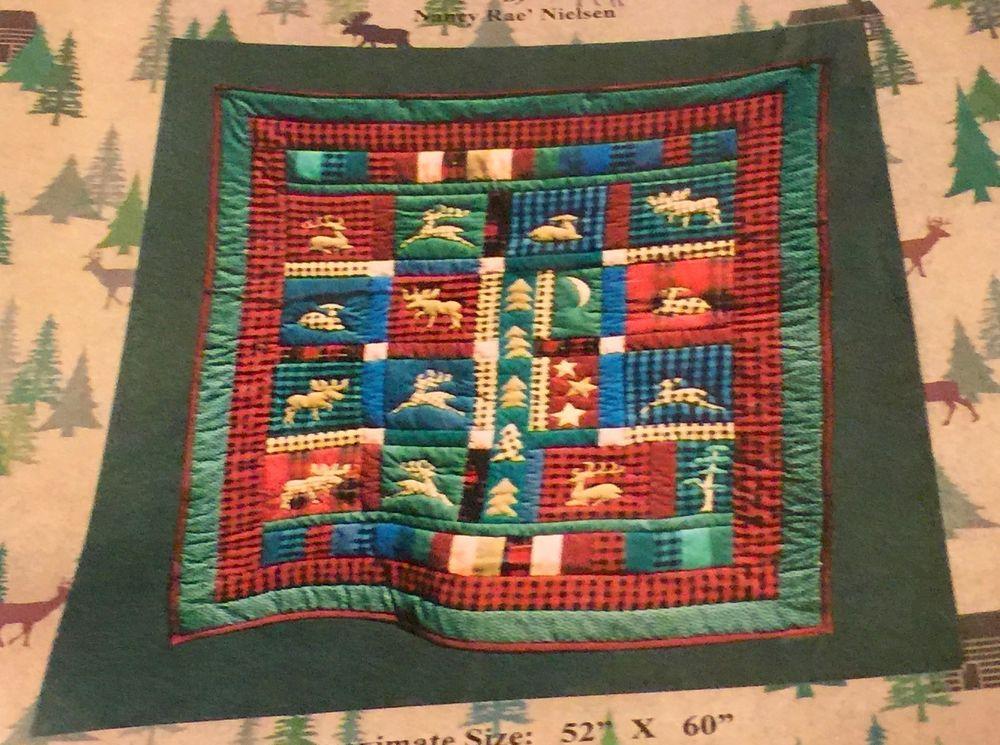 FAB Quilt Pattern NORTHWEST WILDERNESS Primitive Moose Deer Buck Cabin 52x60 #RaesLimitedEditions