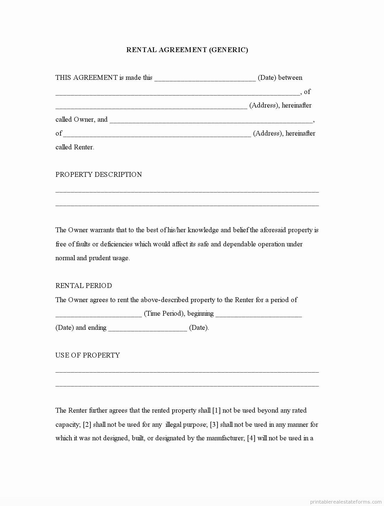 Free Blank Lease Agreement Lovely Free Printable Rental
