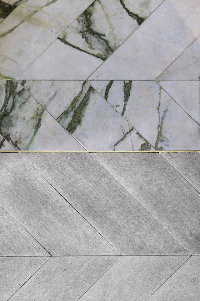 oak and marble chevron divided with brass strip
