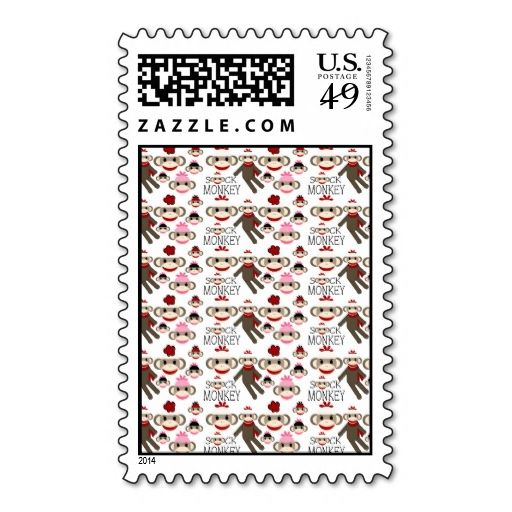 Cute Red and Pink Sock Monkeys Collage Pattern Stamps