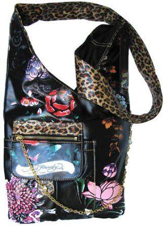 9e1d90ef73 ED HARDY Wild Fleur GARDENIA Black Cross Body Bag  49 Black Cross Body Bag