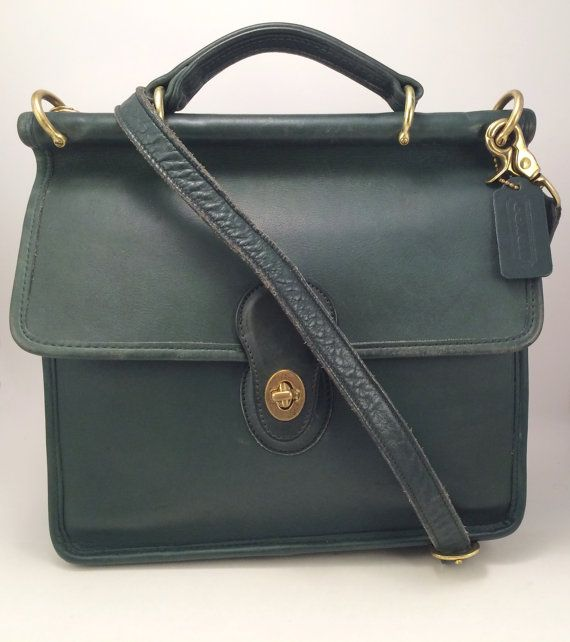 1d3744c6ac Beautiful classic vintage Coach Willis bag in a rare and unusual Bottle  Green color with a top handle and adjustable detachable shoulder strap