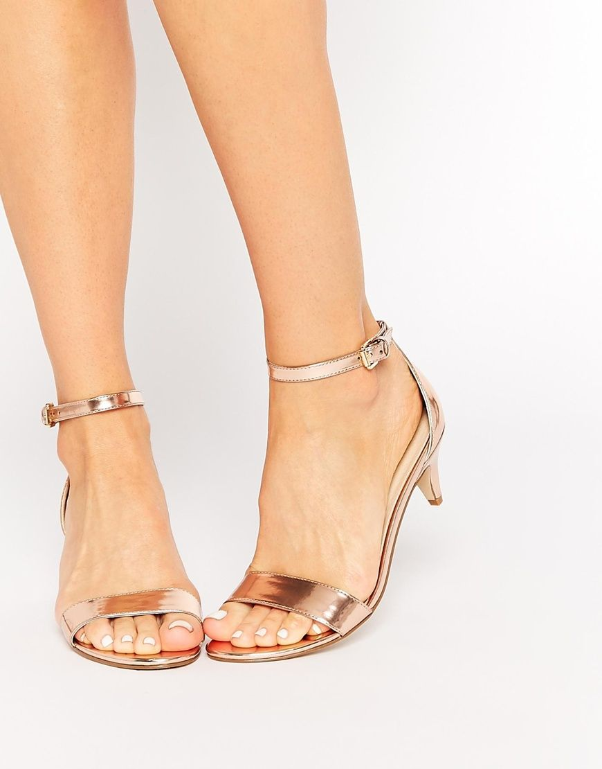 Asos Haden Heeled Sandals At Asos Com Kitten Heel Sandals Low Heel Shoes Gold Kitten Heels