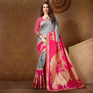 26c15064ce040 Buy Golden - Red Festive Wear Saree for womens online India