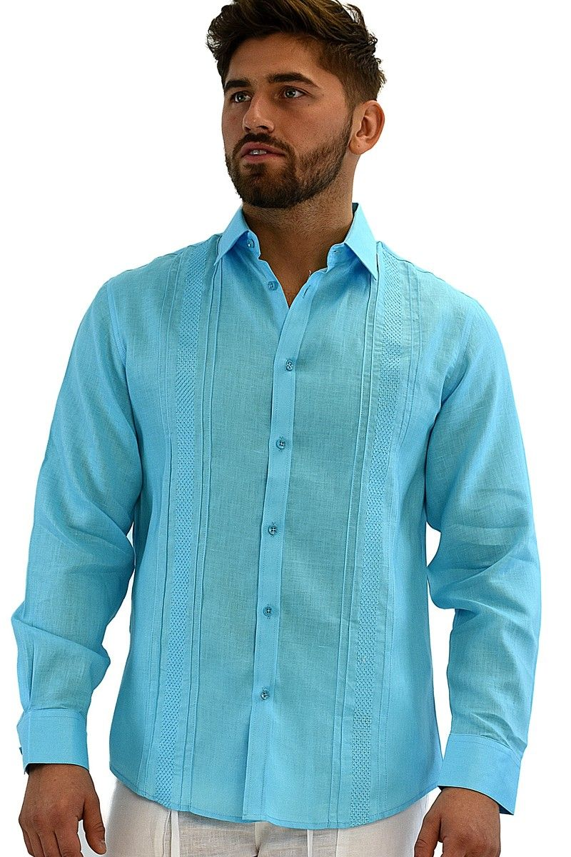 MENS BOHIO 100% LINEN EMBROIDERED & TUCK LONG SLEEVE SHIRT IN (3 ...