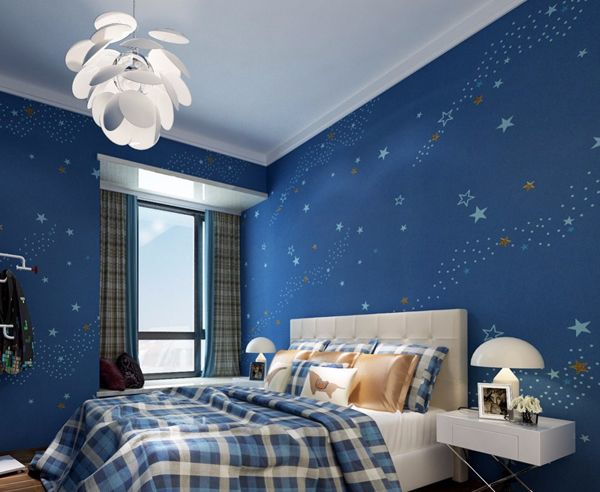 10 Cozy And Dreamy Bedroom With Galaxy Themes Homemydesign In 2021 Blue Wall Decor Bedroom Blue Bedroom Walls Kids Bedroom Wallpaper Blue wallpaper for bedroom