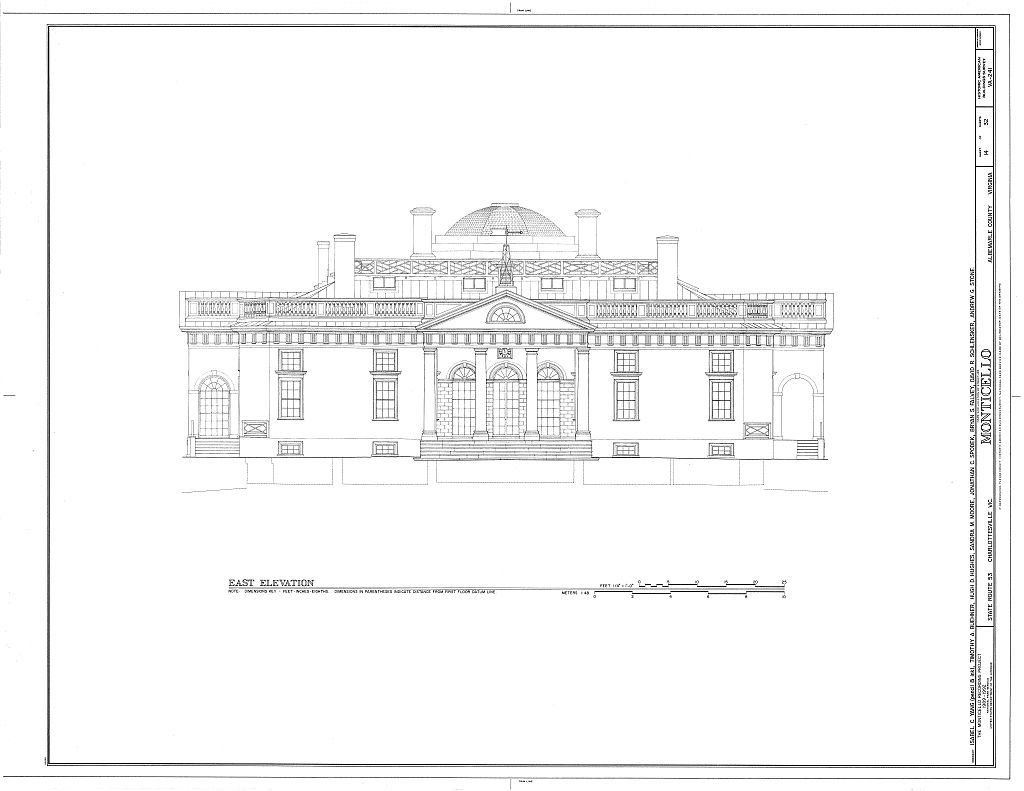 Monticello Drawing Architecture Blueprints Jefferson