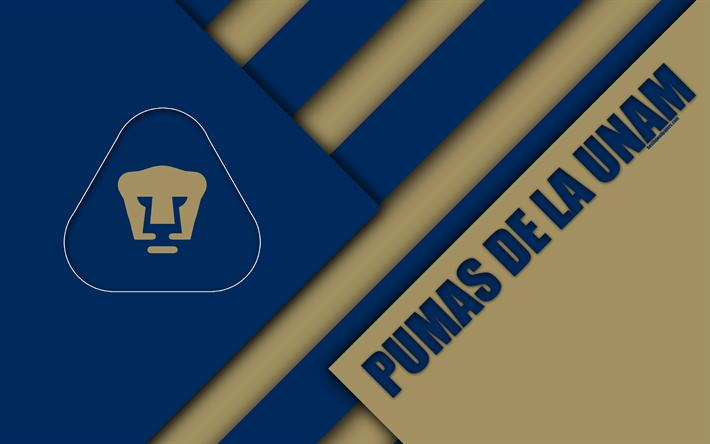 Download Wallpapers Pumas De La Unam Club Universidad Nacional 4k Mexican Football Club Material Design Logo Blue Brown Abstraction Mexico City Mexico Pumas Unam Pumas Pumas Unam Wallpapers