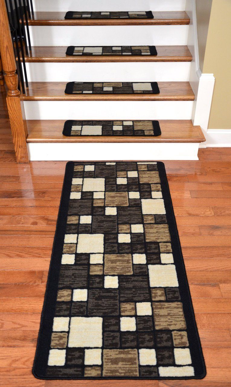 13 Washable Non-Skid Carpet Stair Treads Beige Flower